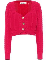 Diane von Furstenberg Zoya Cable-knit Wool-blend Cardigan - Red