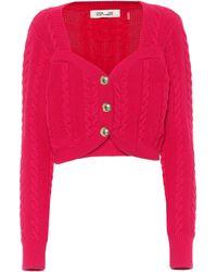 Diane von Furstenberg Cardigan Zoya en laine mérinos et coton mélangés - Rouge