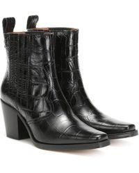 Ganni Ankle Boots Western aus Leder - Schwarz
