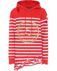 PUMA X Balmain Distressed Striped Stretch-knit Hoody - Red