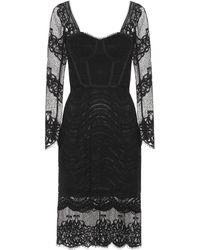 Jonathan Simkhai Mixed Lace Bustier Midi Dress - Black