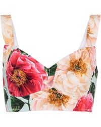Dolce & Gabbana Bustier en mezcla de algodón floral - Multicolor