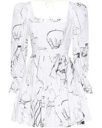 Alexander McQueen Printed Cotton Minidress - White