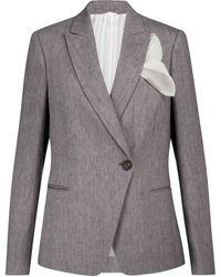 Brunello Cucinelli Stretch-linen Blazer - Grey