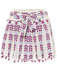 Dodo Bar Or Embroidered Cotton Miniskirt - Purple