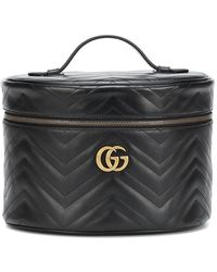 Gucci Beauty case GG Marmont Medium in pelle - Nero