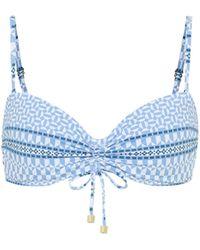 Heidi Klein Malta Printed Bandeau Bikini Top - Blue