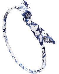 Maison Michel Danny Printed Cotton Headband - Blue