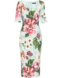 Dolce & Gabbana Floral Cady Midi Dress - Multicolour
