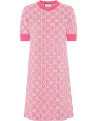 Gucci GG Wool And Cotton Piqué Minidress - Pink