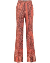 Etro Printed Wool And Silk Pants - Orange