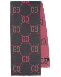 Gucci Sciarpa in jacquard di lana e seta - Grigio