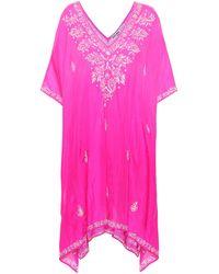 Juliet Dunn Embellished Silk Kaftan - Pink