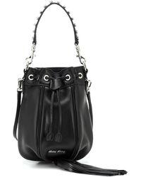 Miu Miu Bucket-Bag aus Leder - Schwarz