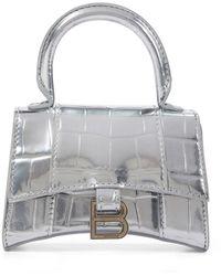 Balenciaga Hourglass Mini Croc-effect Leather Tote - Metallic