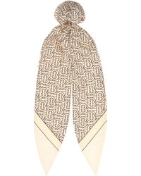 Burberry Logo Silk-twill Hair Scarf - Multicolor