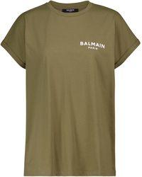 Balmain Exclusivo en Mytheresa – camiseta de algodón con logo - Verde