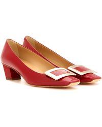 Roger Vivier Décolleté Belle Vivier Leather Court Shoes - Red
