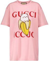 Gucci X Bananya camiseta de algodón estampada - Rosa