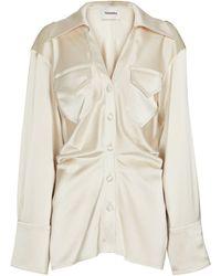 Nanushka Dale Ruched Satin Shirt - White