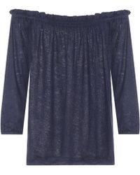 81hours Pin Off-the-shoulder Linen Top - Blue