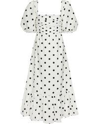 Self-Portrait - Polka-dot Taffeta Midi Dress - Lyst