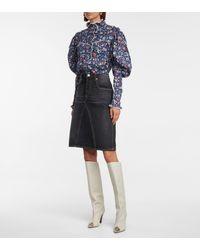 Étoile Isabel Marant Fiali Cotton Denim Skirt - Black