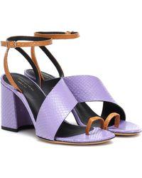 Dries Van Noten Leather Sandals - Purple