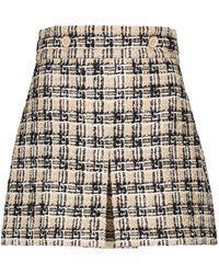 Gucci Checked Tweed Miniskirt - Natural