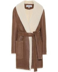 Loewe Belted Shearling-trimmed Leather Coat - Brown