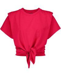 Isabel Marant Camiseta Zelito de algodón anudada - Rojo