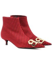 Balenciaga Stivaletti BB in lana pied-de-poule - Rosso