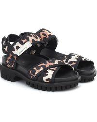 Ganni Leopard-print Trekking Sandals - Black
