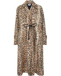 Victoria Beckham Leopard-print Trench Coat - Natural