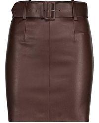 Stouls Mini-jupe Megan en cuir - Marron