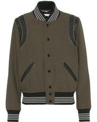 Saint Laurent - Leather-trimmed Wool Bomber Jacket - Lyst