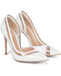 Gianvito Rossi Plexi 105 Patent Leather Court Shoes - White