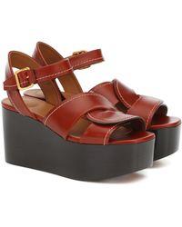 Chloé Candice Leather Platform Sandals - Brown
