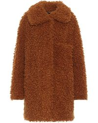 Stella McCartney Abrigo de borrego sintético - Marrón