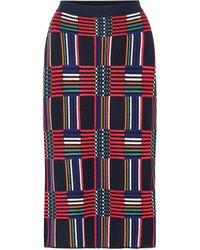 Tory Sport Checked Jacquard Pencil Skirt - Blue