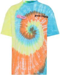 Palm Angels Camiseta de algodón con logo tie-dye - Azul