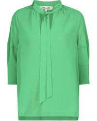 Diane von Furstenberg Blusa Lynn de crepé de seda - Verde