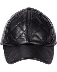 Dolce & Gabbana Gorra de piel con logo colgante - Negro