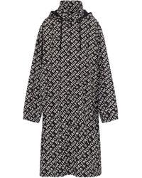 Balenciaga Logo Hooded Raincoat - Black