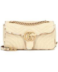 Gucci GG Marmont Small Raffia Shoulder Bag - Multicolour