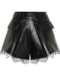Self-Portrait High-rise Faux Leather Shorts - Black