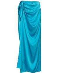 Balenciaga Wickelrock aus Seidensatin - Blau