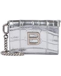 Balenciaga Clutch Hourglass Mini aus Metallic-Leder - Mettallic