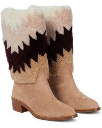 Aquazzura Ankle Boots Nomade 45 mit Shearling - Natur