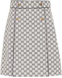Gucci Gg Cotton-blend Skirt - Gray